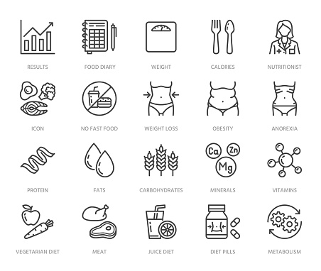Nutritionist flat line icons set. Diet food, nutritions - protein, fat, carbohydrate, fit body vector illustrations. Outline pictogram for overweight treatment. Pixel perfect 64x64. Editable Strokes
