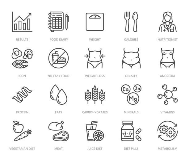 ilustrações, clipart, desenhos animados e ícones de nutricionista de ícones de linha plana definido. dieta alimentar, nutrições - proteína, gordura, carboidratos, caber ilustrações vetor do corpo. delineie pictograma para tratamento com sobrepeso. pixel perfeito 64x64. cursos editáveis - abdome