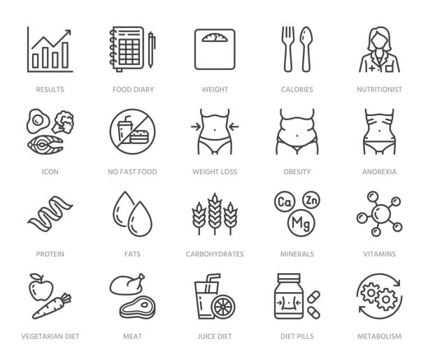 Nutritionist flat line icons set. Diet food, nutritions - protein, fat, carbohydrate, fit body vector illustrations. Outline pictogram for overweight treatment. Pixel perfect 64x64. Editable Strokes Nutritionist flat line icons set. Diet food, nutritions - protein, fat, carbohydrate, fit body vector illustrations. Outline pictogram for overweight treatment. Pixel perfect 64x64. Editable Strokes. weight loss stock illustrations
