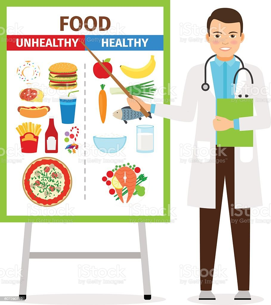 Nutritionist showing poster about food vector art illustration