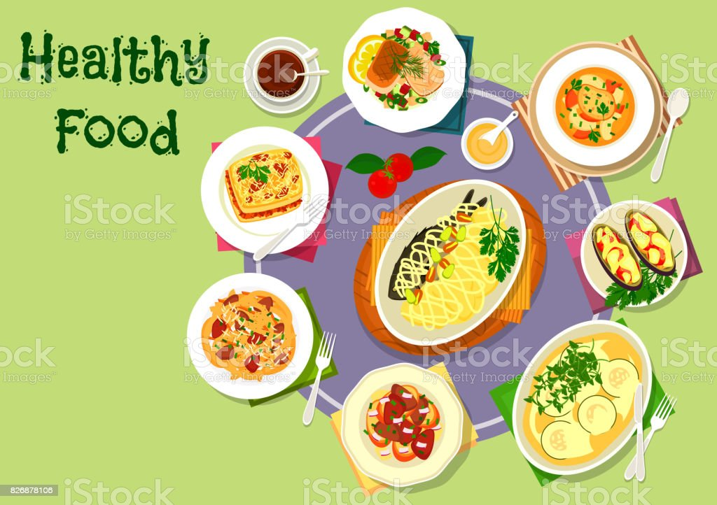 Nutritious dinner with meat and fish dishes icon vector art illustration