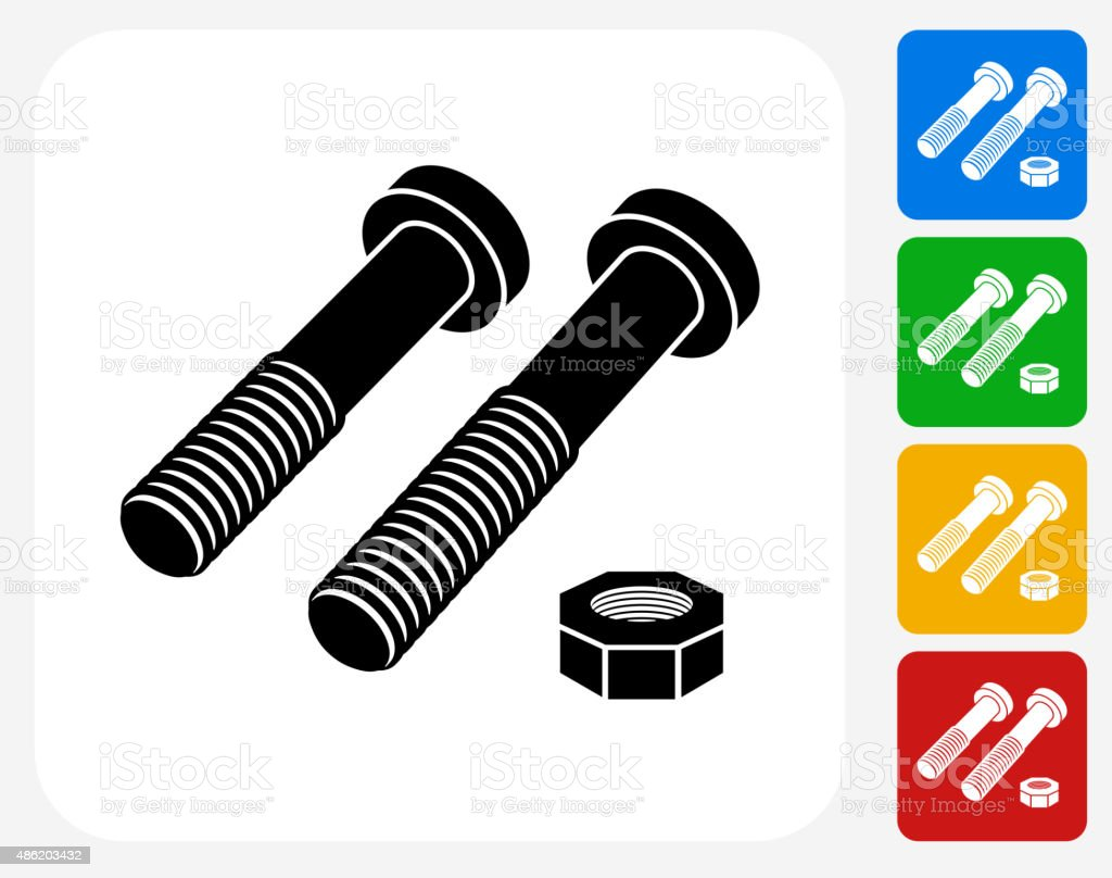 Guscio e bulloni icona piatto di Design grafico - illustrazione arte vettoriale