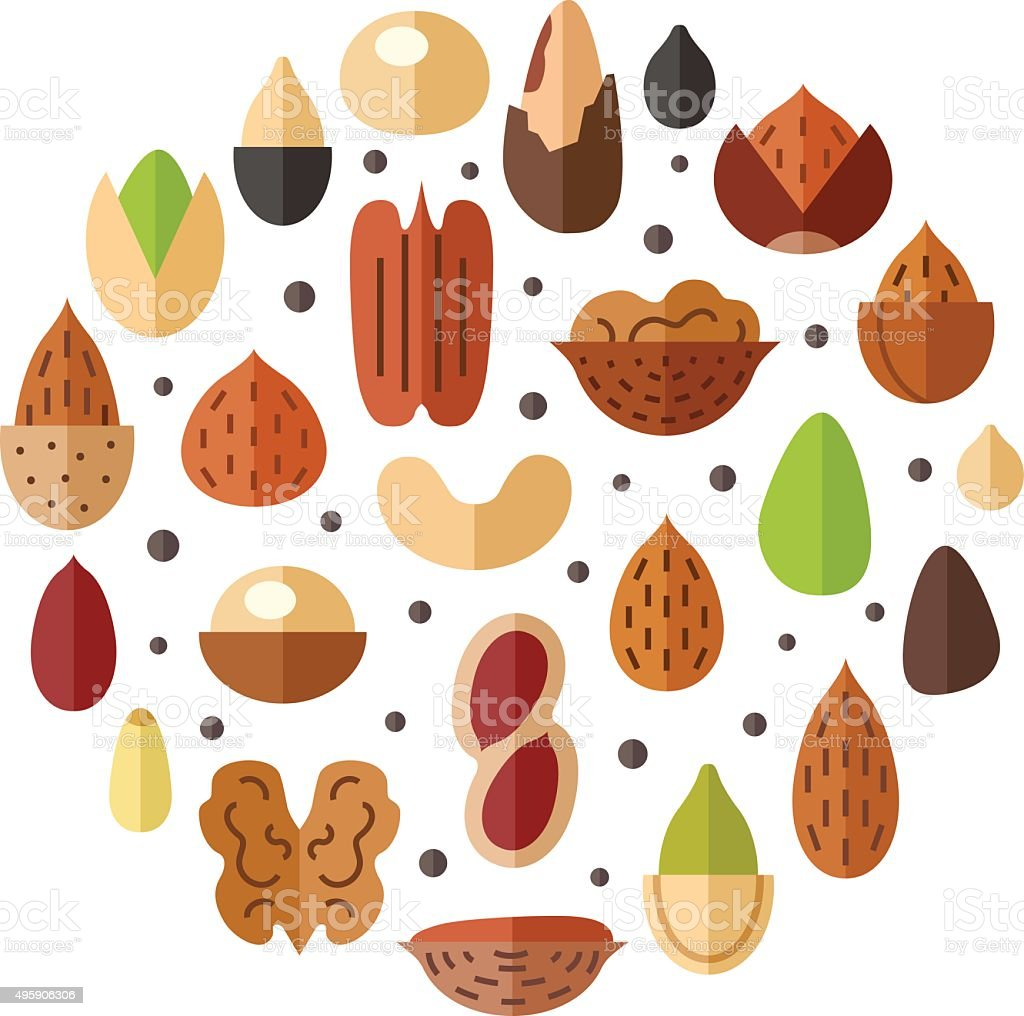 Nuts and seeds circle vector background. Flat design. vector art illustration