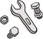 nuts, bolts and wrench cartoon