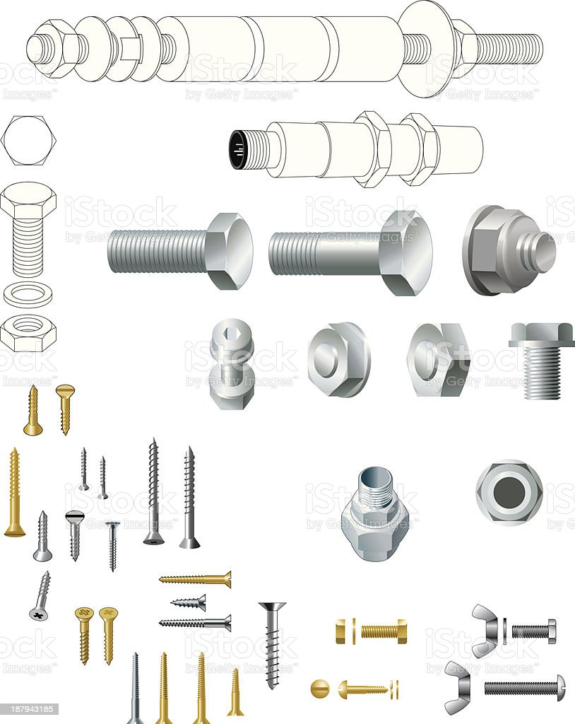 Nuts, bolts, wood screws, steel, brass royalty-free stock vector art