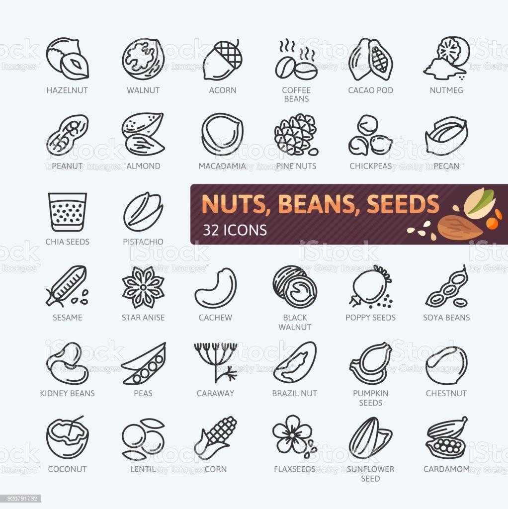 Nueces, semillas y frijoles elementos - colección de iconos vectoriales simples. - ilustración de arte vectorial