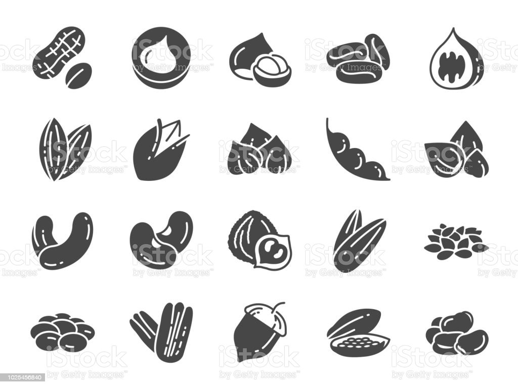 Nuts, seeds and beans icon set. Included icons as walnut, sesame, green beans, coffee, almond, pecan and more. nuts seeds and beans icon set included icons as walnut sesame green beans coffee almond pecan and more - immagini vettoriali stock e altre immagini di alimentazione sana royalty-free