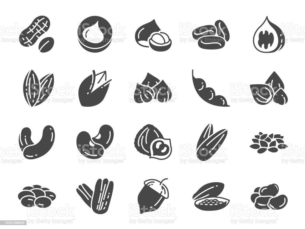 堅果, 種子和豆類圖示設置。包括核桃, 芝麻, 青豆, 咖啡, 杏仁, 山核桃和更多的圖示。向量藝術插圖