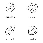 Nuts types icons