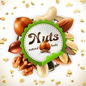 Nuts, vector label