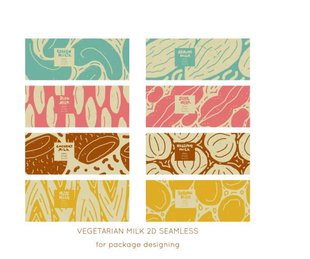 ilustrações de stock, clip art, desenhos animados e ícones de nuts&seeds vegan milk vector - ilustrações de oats