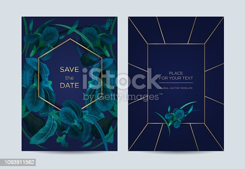 Irises on a blue background. It can be used as a template for weddings, special events, concerts and exhibitions.