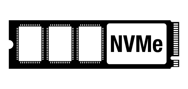 NVMe hard-drive with M2 socket - flat icon
