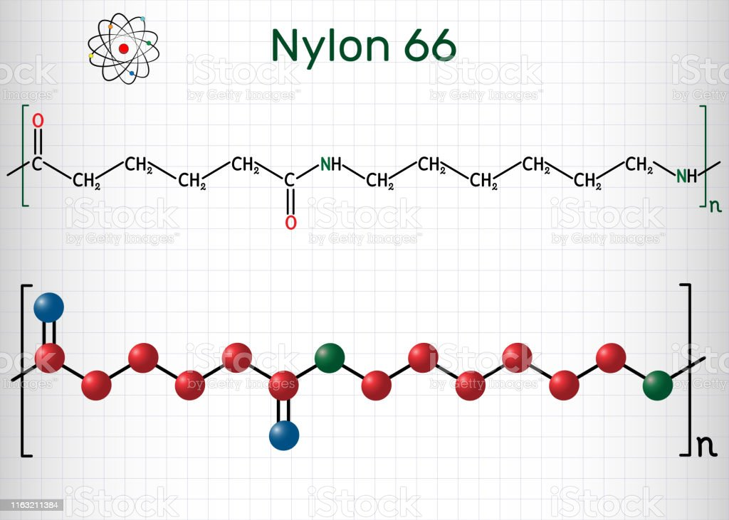 Nylon 66 Or Nylon Molecule It Is Plastic Polymer Structural Chemical