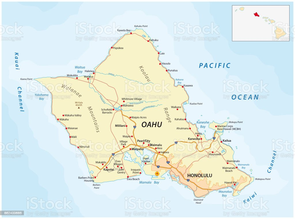 Oahu Road Map Hawaii Stock Vector Art More Images of Blue
