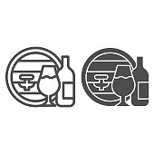 Oak barrel and wineglass and bottle line and solid icon. Wine making logo outline style pictogram on white background. Winery farm production signs for mobile concept and web design. Vector graphics
