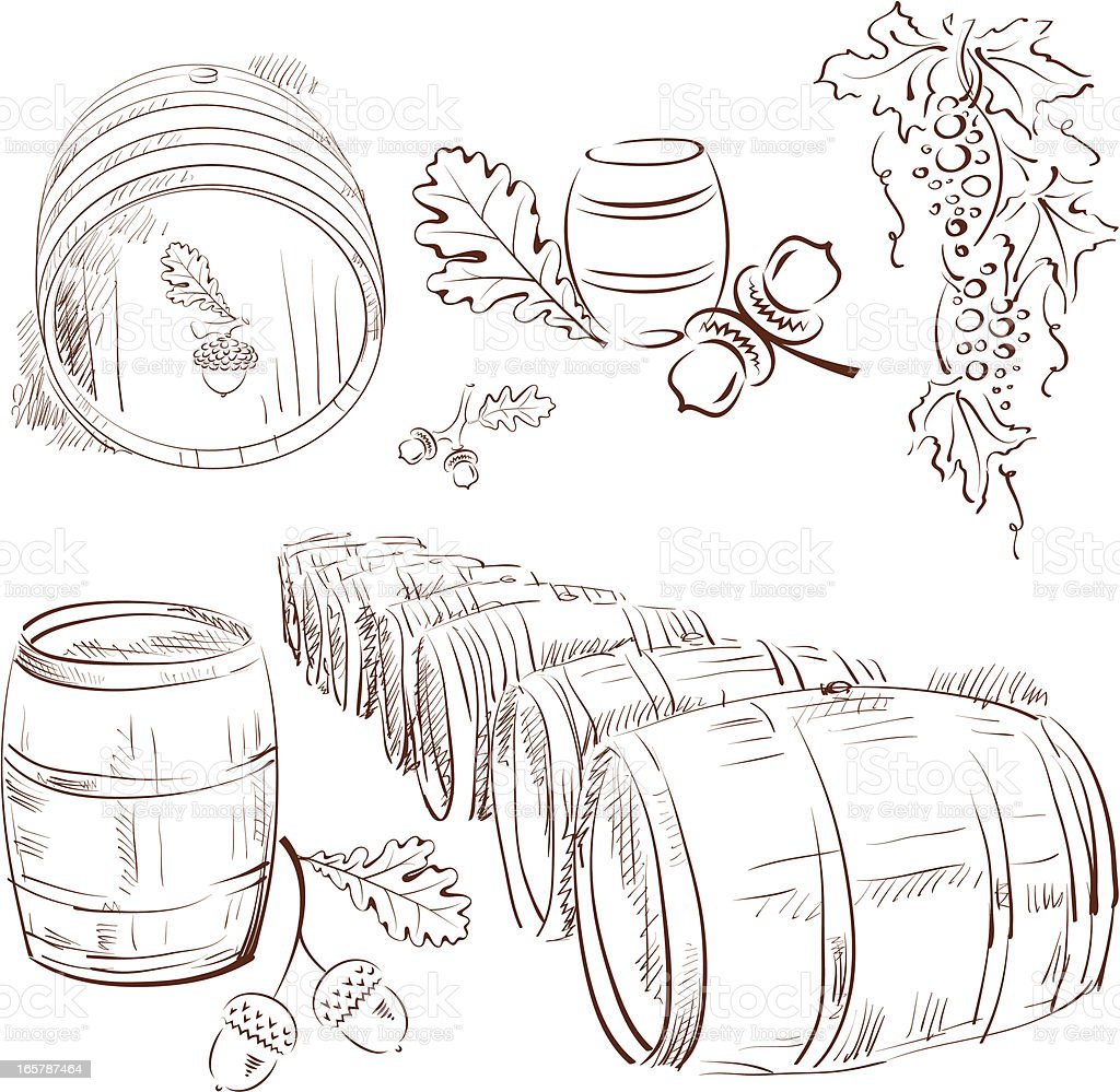 oak barrel royalty-free stock vector art
