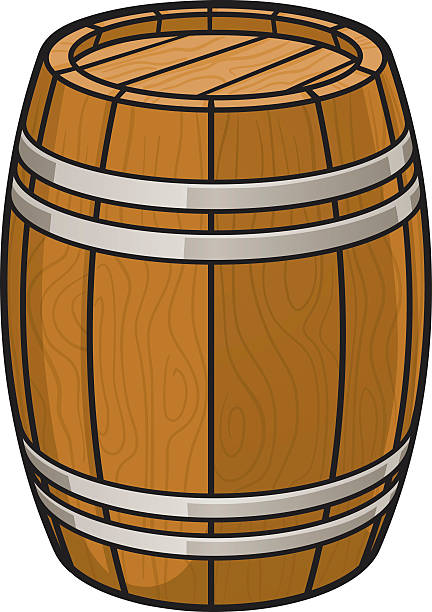 oak barrel vector art illustration