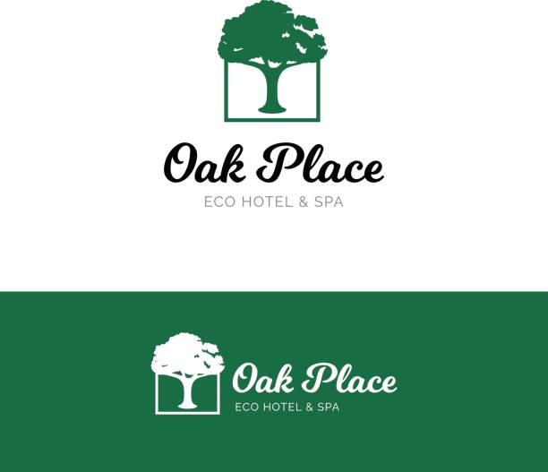 oak emblem for hotel and spa salon. eco nature symbol with tree - care home stock illustrations