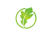 istock Oak leaf icon Green color in a circle vector illustration. 1209587220