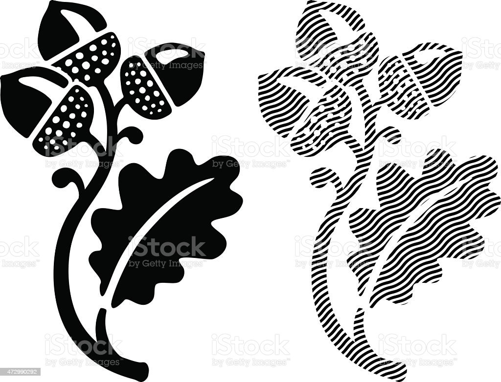Oak leaf with acorns illustration vector art illustration