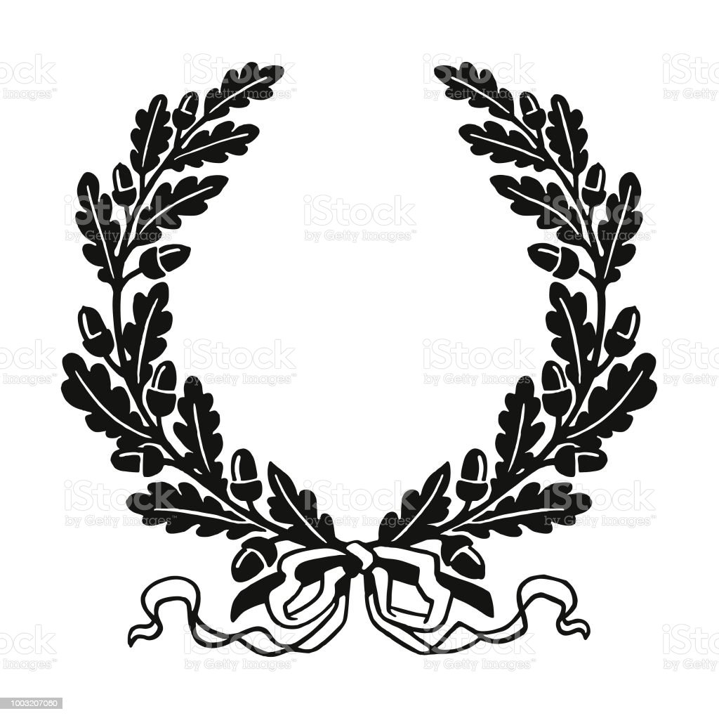 oak leaf wreath stock vector art more images of acorn 1003207060