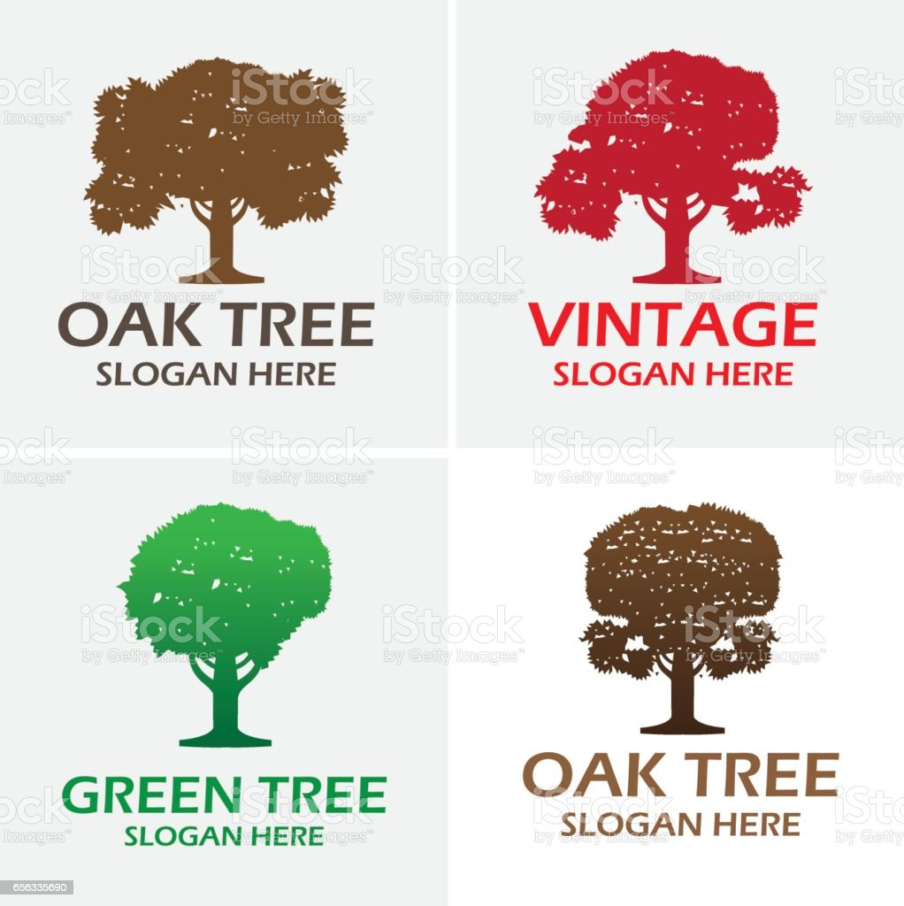 Oak Tree Logo Vector Design Royalty Free Stock Art