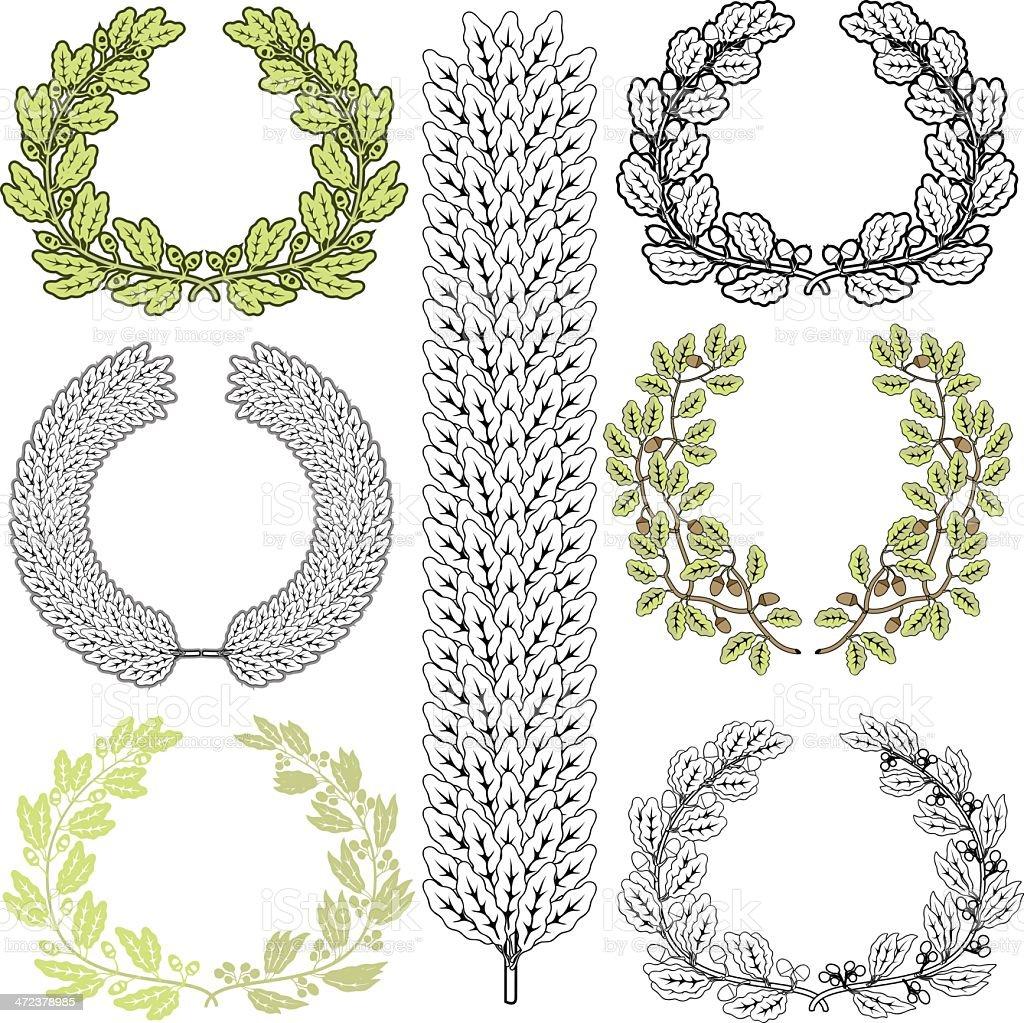 oak tree wreaths stock vector art more images of achievement