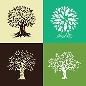 oak trees silhouette set