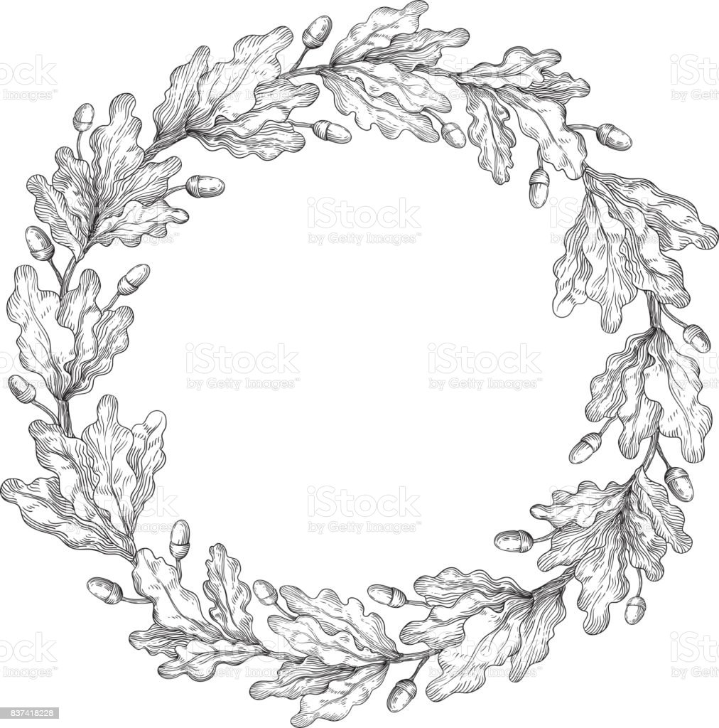 Oak wreath Vector Decorative element with oak branches at engraving style. Arts Culture and Entertainment stock vector
