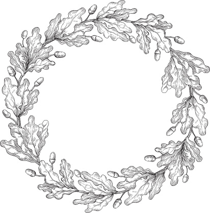 Oak Wreath Stock Illustration - Download Image Now