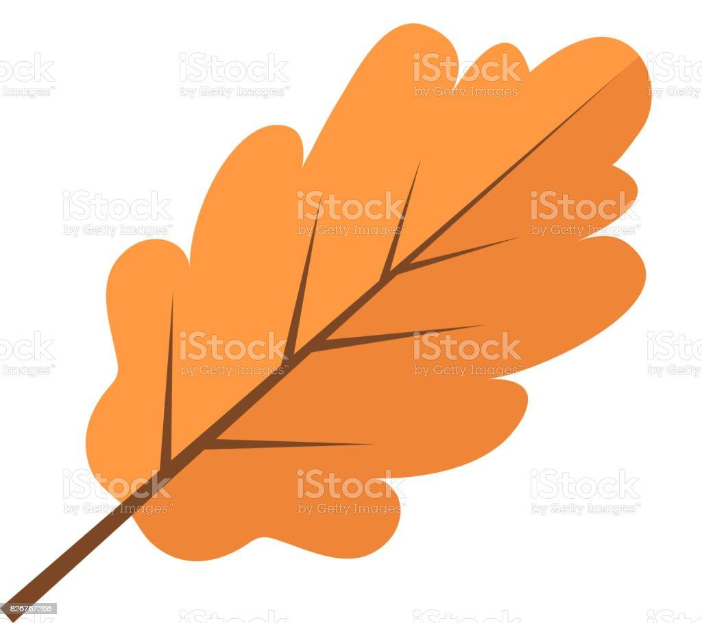 Oak yellow autumn leaf icon flat style. Isolated on white background. Vector illustration. vector art illustration