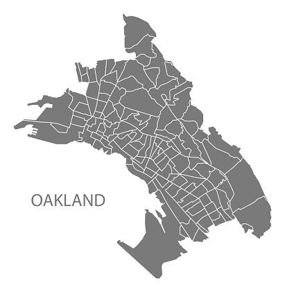 Oakland California city map with 131 neighborhoods grey illustration silhouette shape