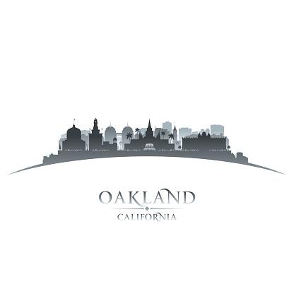 Oakland California city skyline silhouette