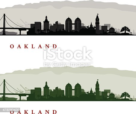 Oakland California Cityscapes - One in Black and White and one in Greenscale
