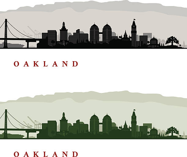 Oakland California Cityscapes Oakland California Cityscapes - One in Black and White and one in Greenscale oakland stock illustrations