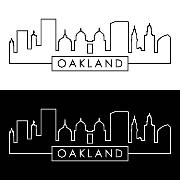 Oakland, California skyline. Linear style. Editable vector file. Oakland, California skyline. Linear style. Editable vector file. oakland stock illustrations