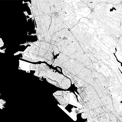 Oakland, California USA Vector Map