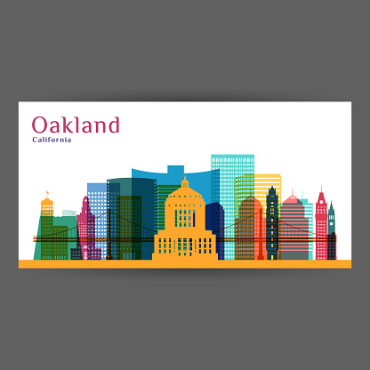 Oakland city, California architecture silhouette. Colorful skyline. City flat design. Vector business card.