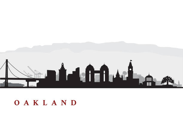 Oakland Cityscape Cityscape of Oakland California with various landmarks oakland stock illustrations