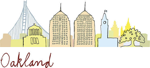 Oakland Cityscape Oakland Cityscape - Hand Drawn Style oakland stock illustrations