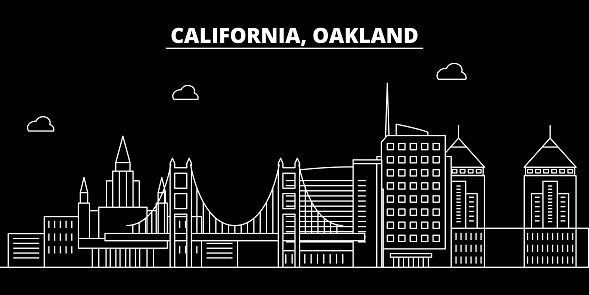Oakland silhouette skyline. USA - Oakland vector city, american linear architecture, buildings. Oakland travel illustration, outline landmarks. USA flat icon, american line banner
