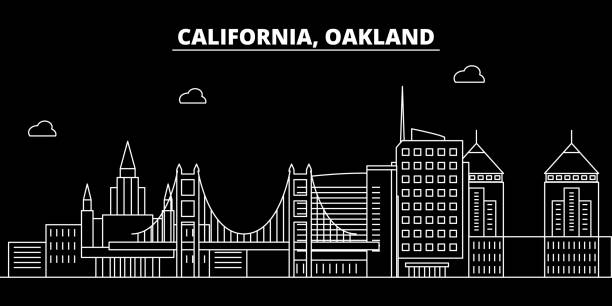 Oakland silhouette skyline. USA - Oakland vector city, american linear architecture, buildings. Oakland travel illustration, outline landmarks. USA flat icon, american line banner Oakland silhouette skyline. USA - Oakland vector city, american linear architecture, buildings. Oakland line travel illustration, landmarks. USA flat icon, american outline design banner oakland stock illustrations