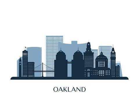 Oakland skyline, monochrome silhouette. Vector illustration.