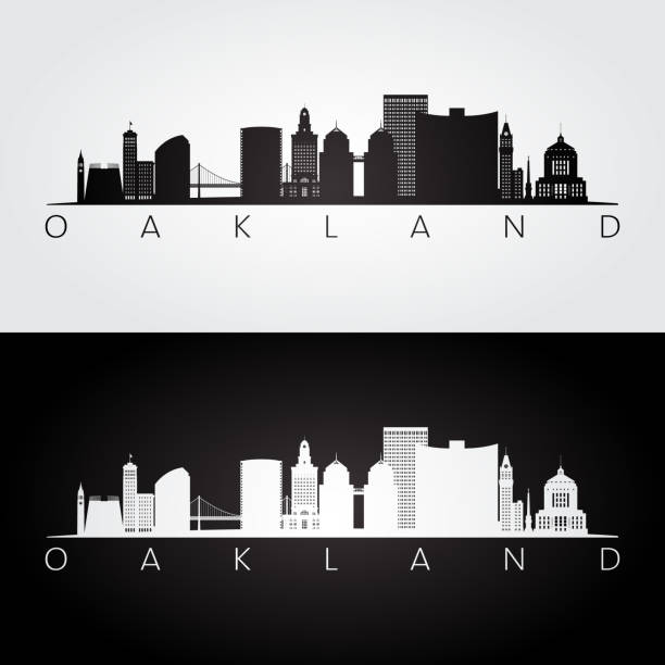 Oakland, USA skyline and landmarks silhouette, black and white design, vector illustration. Oakland, USA skyline and landmarks silhouette, black and white design, vector illustration. oakland stock illustrations