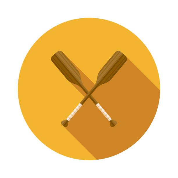 stockillustraties, clipart, cartoons en iconen met roeiriemen platte ontwerp sport pictogram met kant schaduw - paddle