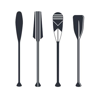 Oars set in flat style, vector illustration