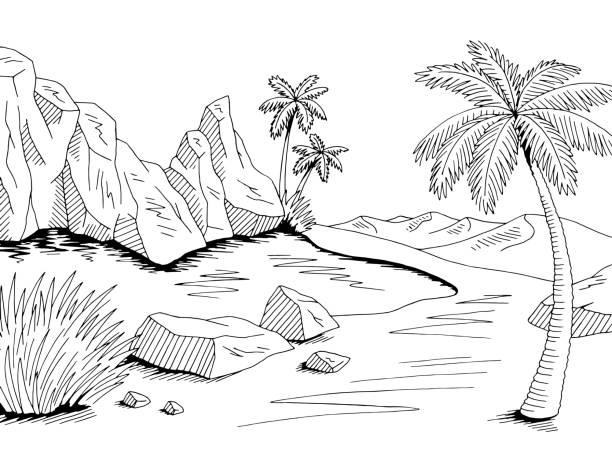 Oasis desert graphic black white landscape illustration vector Oasis desert graphic black white landscape illustration vector lakeshore stock illustrations