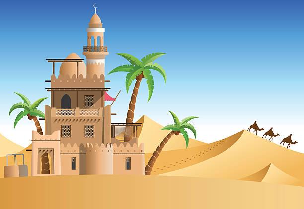 stockillustraties, clipart, cartoons en iconen met oasis in the desert - karavanserai