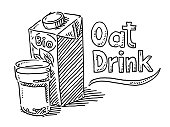 Oat Drink Packaging Glass Drawing